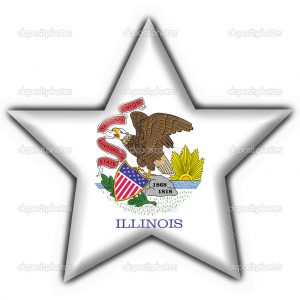 Illinois (USA State) button flag star shape - 3d made